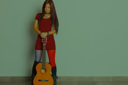 Asian girl with a guitar